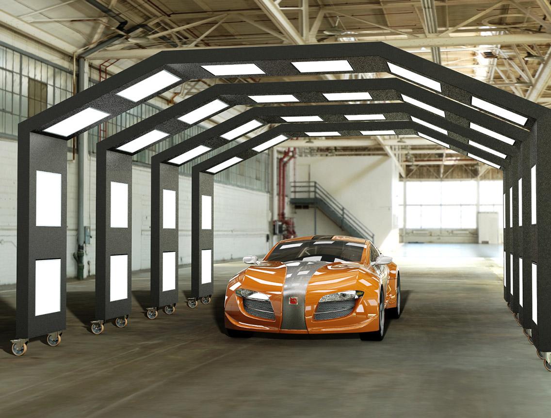 Tunnel luci per controllo verniciatura auto
